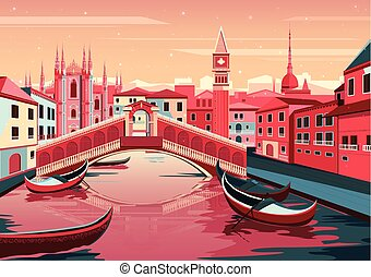 Cityscape of Venice, Italy - vector illustration of...