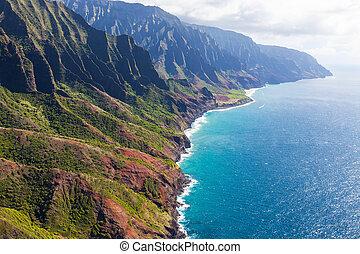 aerial view of kauai - stunning aerial view of na pali coast...