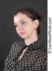 girl with brown eyes - portrait of thoughtful girl with...