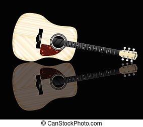 Pale Acoustic Guitar Reflection - A typical acoustic guitar...