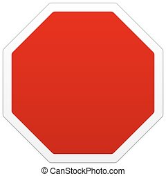 Single red blank sign with copy space - Single isolated red...