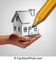 Dream Home Concept - Dream home concept as a hand holding a...