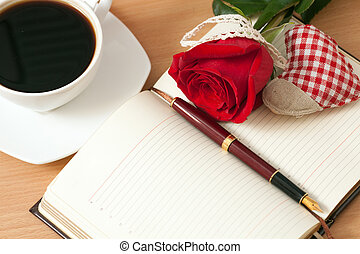 Open notebook and pen - Open notebook, pen, cup of coffee,...