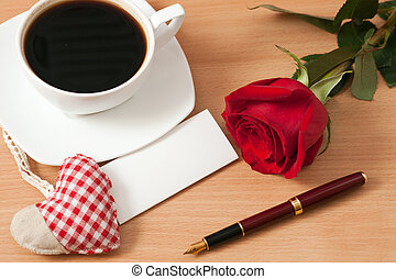 Sheet of paper on the table - Sheet of paper, cup of coffee,...
