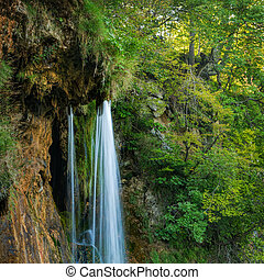 Waterfall in Plitvice National Park, Croatia Filtered image:...
