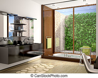3d illustration of modern bathroom with black sink and a large panoramic window