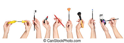 collection of hands holding tools for makeup isolated on...