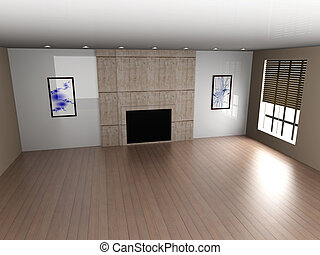 Living room - 3D rendered Illustration. Interior...