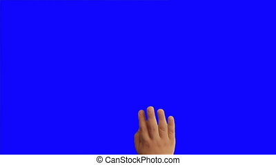 14 children's hands gestures on a touchscreen, tablet,...
