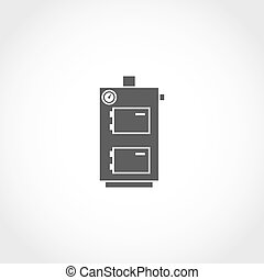 Solid fuel boiler vector icon Climatic equipment vector icon...