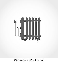 Oil heater vector icon. Climatic equipment vector icon.