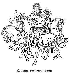 quadriga black whiteeps - charioteer in a roman quadriga...