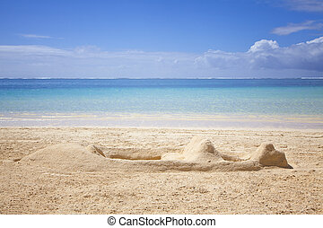 Sandcastle - Beach at the paradise island Mauritius In front...