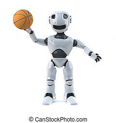 3d Robot playing basketball - 3d render of a robot holding a...