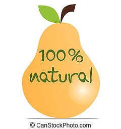 100% natural fresh pear - Pear and 100 percent natural text,...