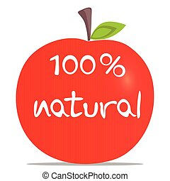 100% natural red apple - Apple and 100 percent natural text,...