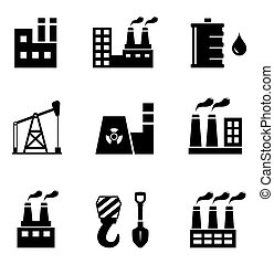 industrial icons set - set of black industrial icons on...