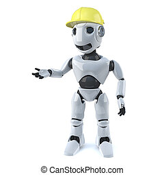 3d Robot works in construction - 3d render of a robot...