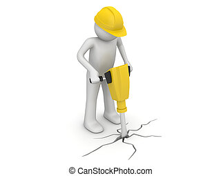 Worker with paving breaker - 3d isolated on white background...
