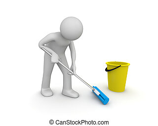 Cleaner at work - 3d isolated on white background characters...
