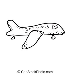 Simple doodle of an aeroplane - Simple hand drawn doodle of...