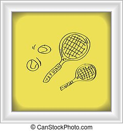 Simple doodle of a tennis racket - Simple hand drawn doodle...