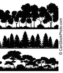 Three forests silhouettes - Vector illustration of a three...