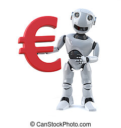 3d Robot holds a Euro currency symbol - 3d render of a robot...