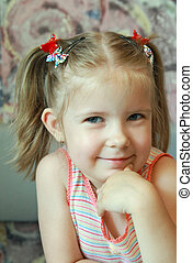 Smile - Artful, mysterious smile of 4 years girls