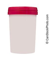 contenedor, alimento, aislado, plástico, blanco, rojo