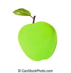branca, cera, verde, maçã, isolado