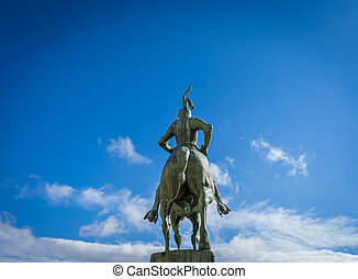 Francisco Pizarro statue in Trujillo, Caceres - Rear view of...