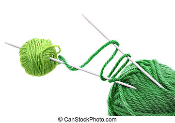 ball of yarn with needles on a white background
