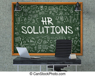HR Solutions Concept. Doodle Icons on Chalkboard. - HR...