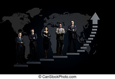 business team is standing on a graph