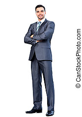 smiling business man - Full body portrait of happy smiling...