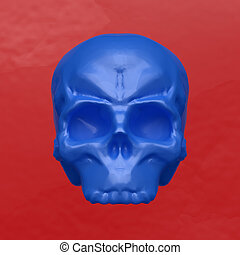 Plasticine skull - Plasticine blue skull on a red background