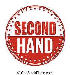 Second hand stamp - Second hand grunge rubber stamp on white...