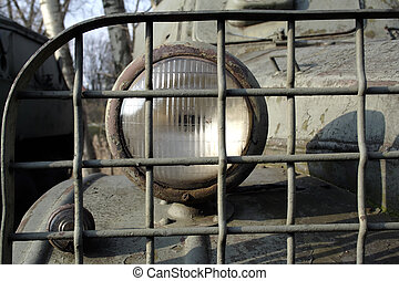 headlight of the old military truck