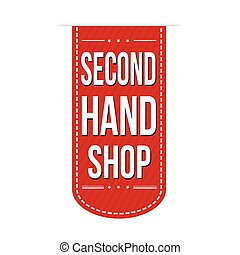 Second hand shop banner design over a white background,...