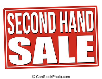 Second hand sale red sign isolated on a white background,...