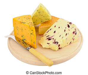 Cheese Board With Mixed Cheeses - Round wooden cheese board...