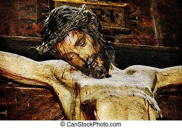 christ - figure of Jesus Christ on vintage background