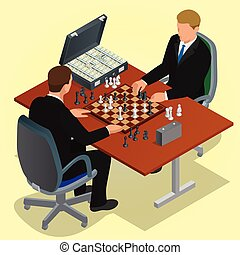 Two CEO playing chess using businessman. Business concept....