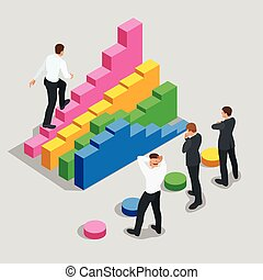 Concept of success and determination in business. Businessman in black suit climbing the stairs of success. Flat 3d vector isometric illustration