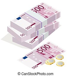 Five hundred euro banknote and one euro coin on a white background. Flat 3d vector isometric illustration concept hundreds euro banknotes stacks
