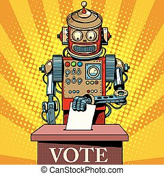 Robot the voter vote on election day pop art retro style...