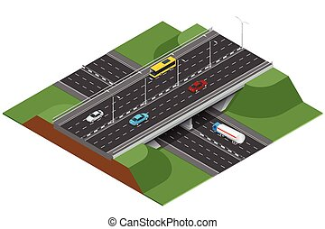 Road infographics with highways with city transport. Flat 3d...