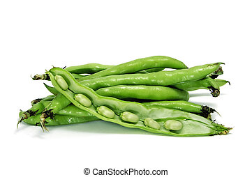 broad bean - close up of some broad bean pods with the beans...