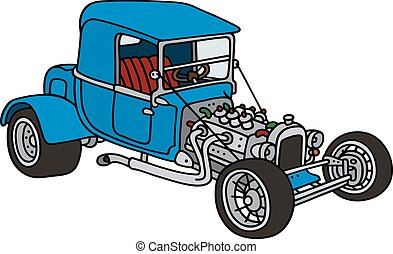 Blue hot rod - Hand drawing of a funny vintage blue car -...